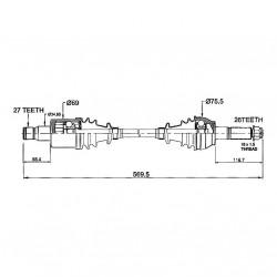 Cardan Complet Arrière Polaris RZR800